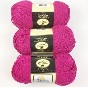 Lot Of 3 Of Rainbow Classic Bright Pink Yarn